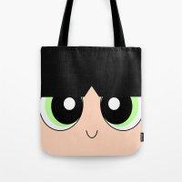 powerpuff girls Tote Bags featuring Buttercup -The Powerpuff Girls- by CartoonMeeting