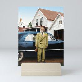Mr. Fox posing with his new car Mini Art Print
