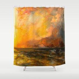 Majestic Golden-Orange Sunset Over the Troubled Atlantic Ocean landscape by Thomas Moran Shower Curtain