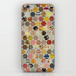 Hexagon and Blue Star Quilt iPhone Skin