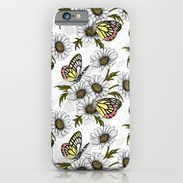 Jezebel butterflies and daisy flowers on white iPhone Case