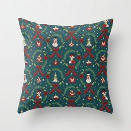 Winter Friends (Blue) Throw Pillow