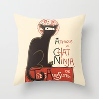 high Throw Pillows featuring A French Ninja Cat (Le Chat Ninja) by Kyle Walters