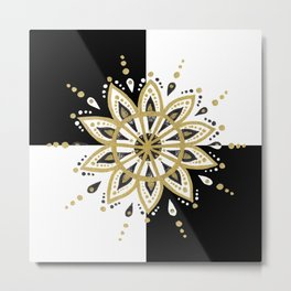 Black & Gold Mandala Geometric Design Metal Print