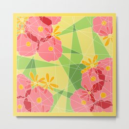 Floral Cubed Metal Print