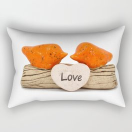Orange love birds Rectangular Pillow