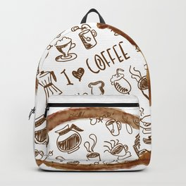 Inside an imprint of Coffee - I love Coffee Backpack