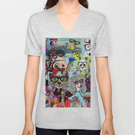 Hip Animals with Glasses . . . The Cool Kids! Unisex V-Neck