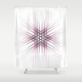 Pink Nordic star with fine geometric lines pattern Shower Curtain