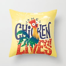 The Chicken Lives Throw Pillow