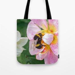 bee on pink flower Tote Bag