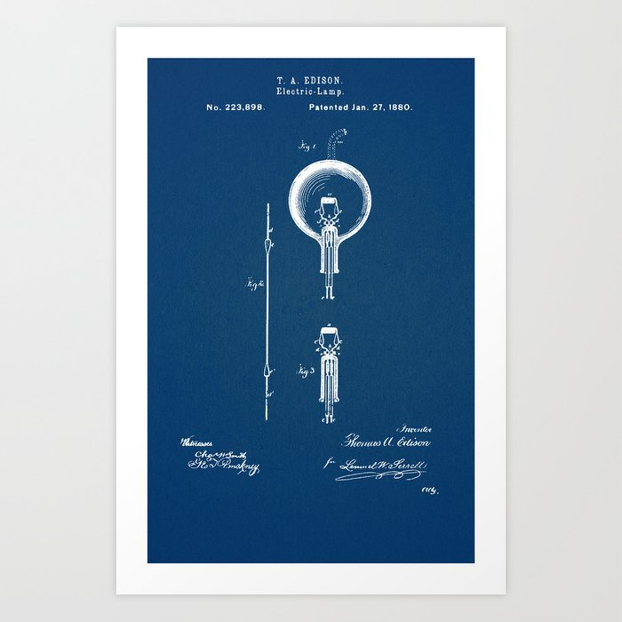 Edison light bulb blue Kunstdrucke