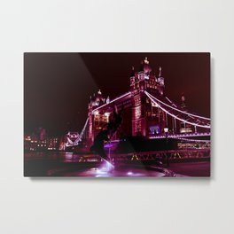 Tower Bridge and Girl and Dolphin Statue Metal Print