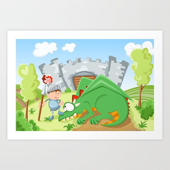 Knight and the dragon Art Print