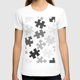 Puzzle black and white pattern T-shirt