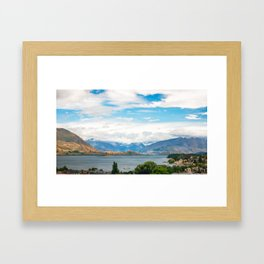 Cloudy summer day at Wanaka, New Zealand Framed Art Print