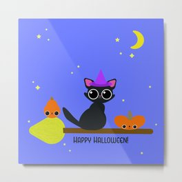 Witchy Cat and Pumpkin Passengers! Metal Print