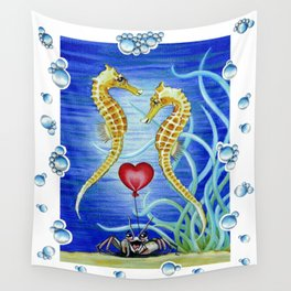 SEAHORSES IN LOVE Wall Tapestry
