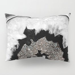 Gray Black White Agate with Silver Glitter #1 #gem #decor #art #society6 Pillow Sham
