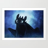 toothless Art Prints featuring Toothless by Liancary
