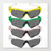 tour de france Canvas Prints featuring Tour de France Glasses by Pedlin