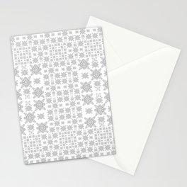 Simple Elegant Black and White Fractal Square Mandala Stationery Cards