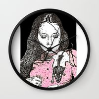 jessica lange Wall Clocks featuring Jessica by BlushBoundJazzy