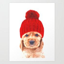 Cocker spaniel puppy with hat Art Print