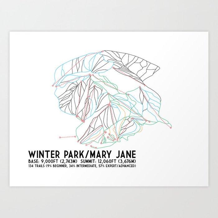 Winter Park/Mary Jane, CO - Minimalist Trail Art Kunstdrucke