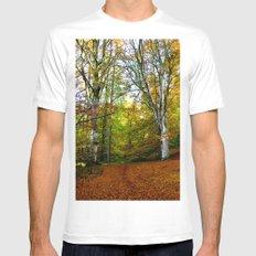 Autumn Trees Woodland Mens Fitted Tee White MEDIUM