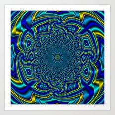 Wave Mandala - Aqua Art Print