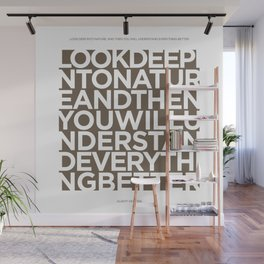 Nature quote poster - Albert Einstein - Tobacco brown Wall Mural