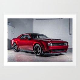 Candy Apple Red Challenger SRT Demon MOPAR Muscle Car Art Print