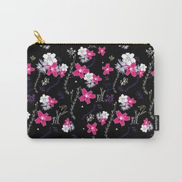 Petite Pink Floral Pattern Carry-All Pouch