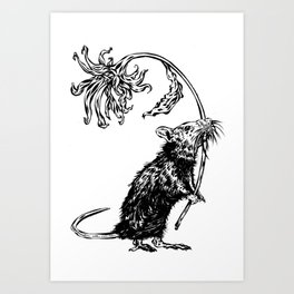 Rat with flower #2 Art Print