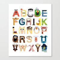 muppets Canvas Prints featuring Muppet Alphabet by Mike Boon