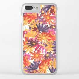 Sunset Flower Clear iPhone Case