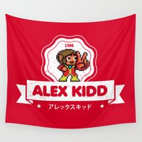 alex turner Wall Tapestries featuring Alex Kidd by Slippytee Clothing