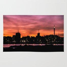 Cityscape Sunset Scene, Montevideo, Uruguay Rug