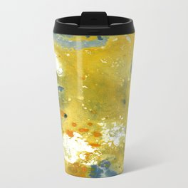 Abstract Acrylic Painting YELLOW Metal Travel Mug