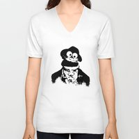 cookie monster V-neck T-shirts featuring Cookie Waits by Thorn Blackstar