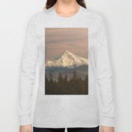 Mount Hood Vintage Sunset - Nature Landscape Photography Long Sleeve T-shirt