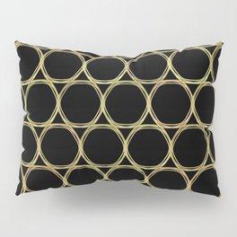 Gold Rings on Black Pillow Sham