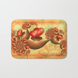 Lovers, Abstract Emotions Fractal Art With Red Hearts Bath Mat