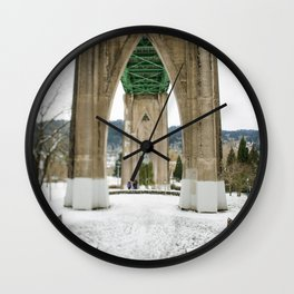 Snow at Saint Johns Bridge Portland Oregon Wall Clock