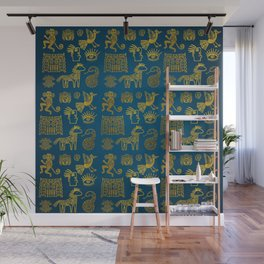 Aztec ancient animal gold symbols on teal Wall Mural