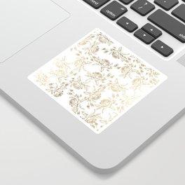 Vintage white faux gold roses floral Sticker