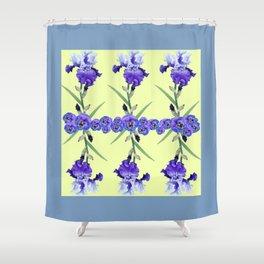 PURPLE WHITE IRIS & PANSIES GARDEN Shower Curtain