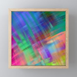Abstract pink teal lilac green watercolor brushstrokes Framed Mini Art Print