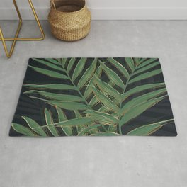 Trendy Green Palm Leaves Gold Strokes Gray Design Rug